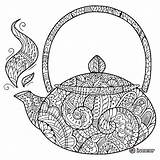Coloring Tea Teapot Zentangle Adult Coffee Doodle Adults Books Mandala Zentangles Uploaded Guardado Desde sketch template