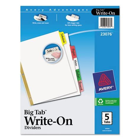 avery big tab template avery big tab write erase dividers 5 multicolor tabs 1 set import it all