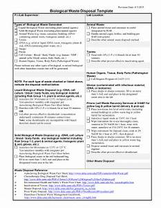 Waste disposal plan form for Waste management plans template