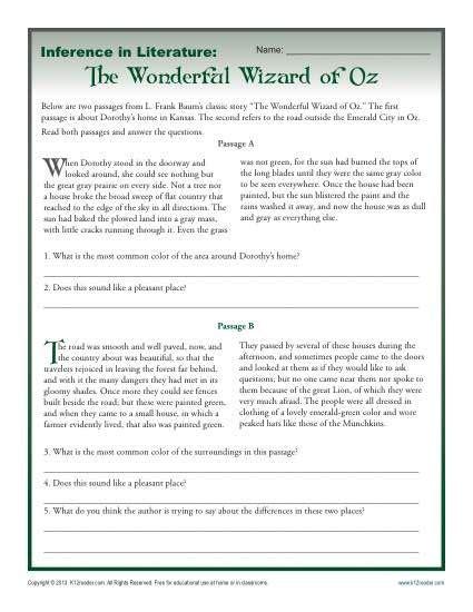 inference  literature  wizard  oz rdg strategies