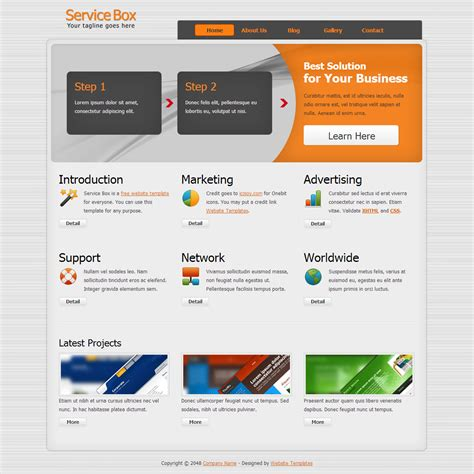 Html Template Service Box Free Templates