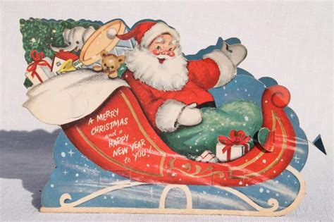 50s vintage die cut paper christmas decoration santa