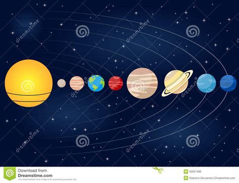 Linear Solar System Orbits Background Stock Vector - Image ...