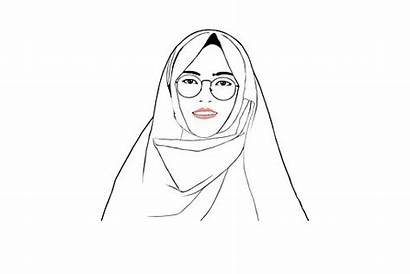Gambar Kartun Putih Hitam Wanita Berjilbab Pixabay