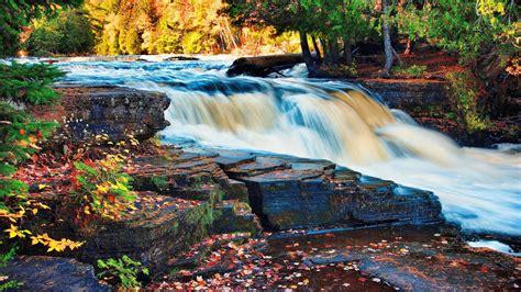 waterfall autumn trees forest rock desktop wallpaper hd