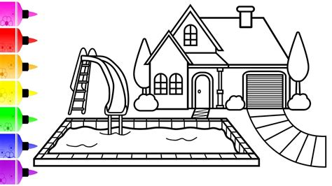 draw  house  pool coloring page  kids