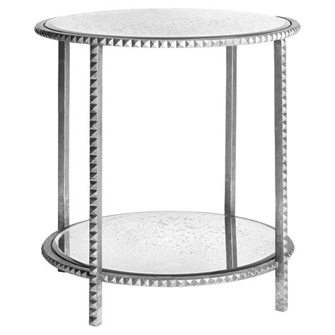 silver leaf end table round silver leaf studded end table with antique mirror