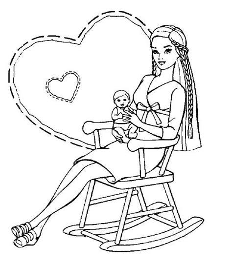 disegni piccolini disegno mamma con piccolino su sedia a dondolo