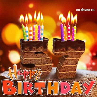 Birthday 57th 53rd Card Candles Cake Animated