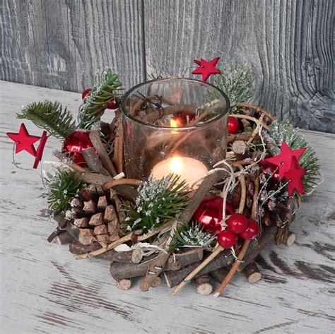 Holzkranz Mit Deko Windlicht Advent Adventskranz