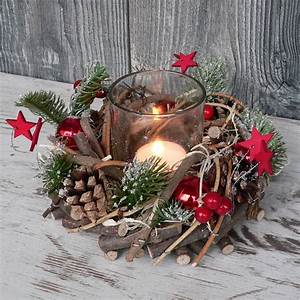 Weihnachtliche Deko Ideen : holzkranz mit deko windlicht advent adventskranz weihnachten holz glas rot gr n ebay ~ Markanthonyermac.com Haus und Dekorationen