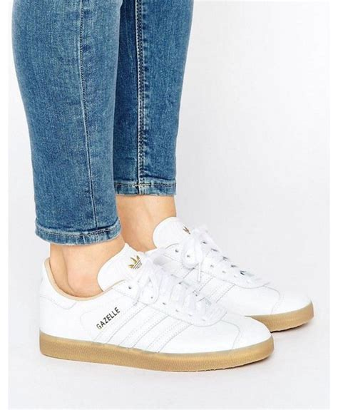 adidas gazelle womens leather trainers  white  gum