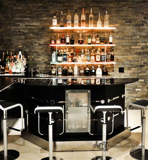 Bar Shelves by Home Bar W Led Floating Shelves Low Profile Liquor Display