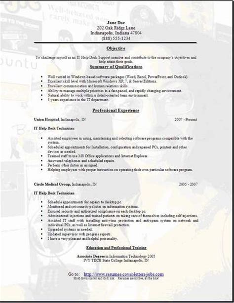 help desk support resume sle resume help desk specialist