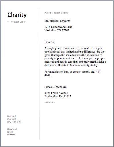 sample charity letter  letters   donations