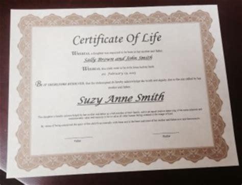 certificate  life