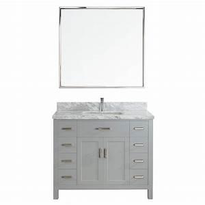 kent 42 inch oxford gray finish bathroom vanity solid With bathroom vanities solid wood construction