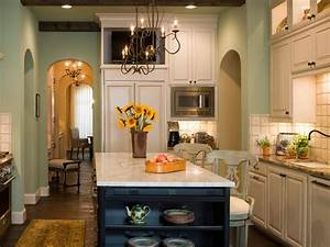 robin39s egg blue kitchen makeover bonnie pressley hgtv With kitchen cabinets lowes with green and brown wall art