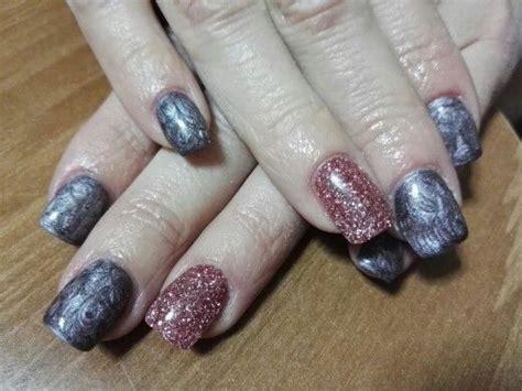 rosa glitzer gelnägel unghie gel grigio rosa metallizzato con glitter rosa
