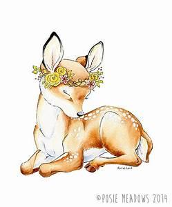 SALE! Little Dear - Baby Deer Fawn Watercolor Giclee Print ...