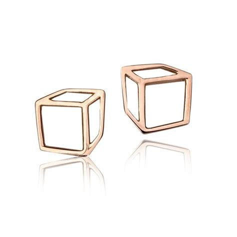 shimell madden petite rose gold cube stud earrings