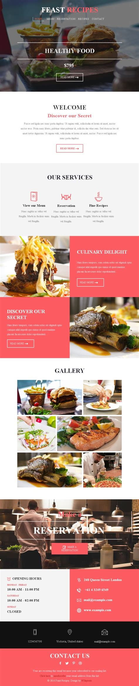 newsletter recipes template feast responsive web