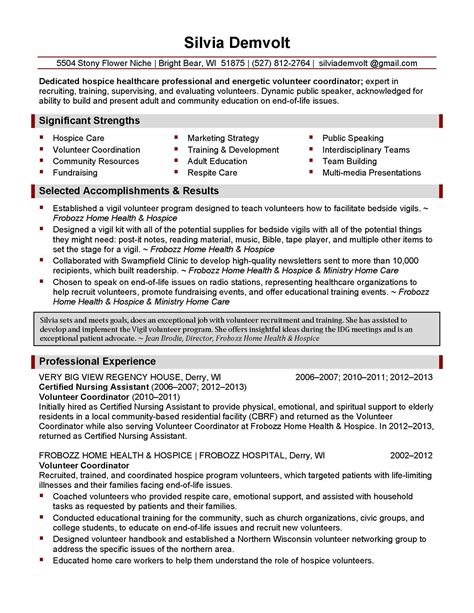 Hospice Care Resume by Professional Resume Sles By Julie Walraven Cmrw