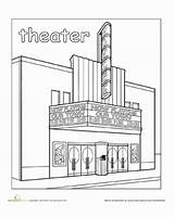 Town Coloring Theater Places Paint Pages Worksheet Worksheets Education Movie Preschool Around Drawing Kindergarten Theatre Community Building Take Without Child sketch template