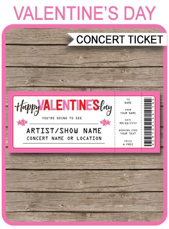 valentines day concert ticket gift template gift