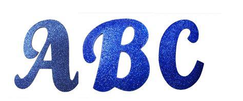 letras abecedario cursivas em glitter azul letras
