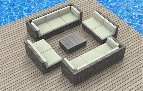 furnishing bermuda 11pc modern wicker rattan patio