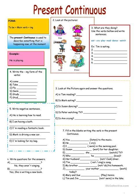 present continuous worksheet  esl printable