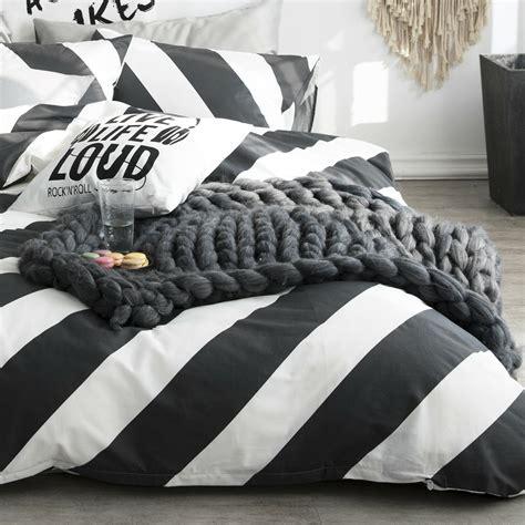 Black Coverlet by 100 Cotton Black White Diagonal Stripe Duvet Cover Set