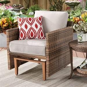 Better, Homes, U0026, Gardens, Davenport, Patio, Wicker, Glider, Chair, With, Beige, Cushions