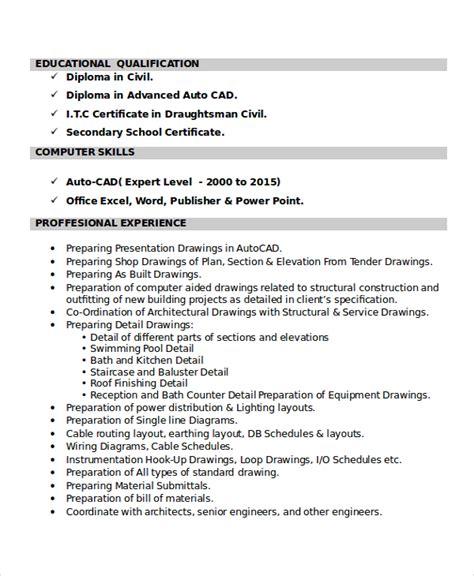 autocad resume template 8 free word pdf document