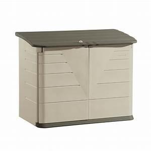 Shop Rubbermaid Olive/Sandstone Resin Outdoor Storage Shed