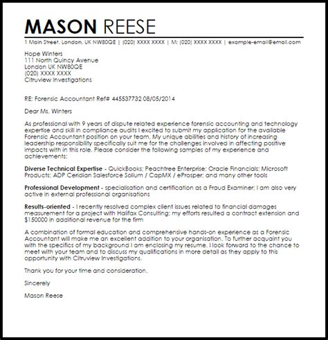 forensic accountant cover letter sample livecareer