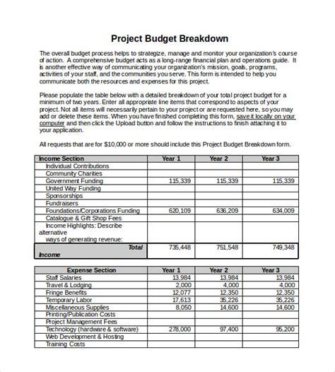 project budget templates docs  excel