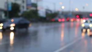 Blurry Defocussed Car Lights On Rainy Day Stock Footage ...