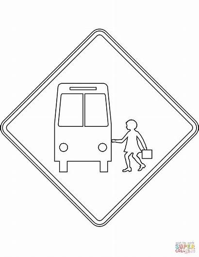 Coloring Stop Bus Sign Ahead Pages Australia