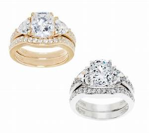 diamonique 295 cttw 100 facet 2 pc bridal ring set With qvc wedding ring sets
