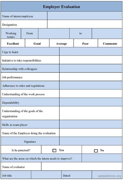 evaluation form employer evaluation form sle forms