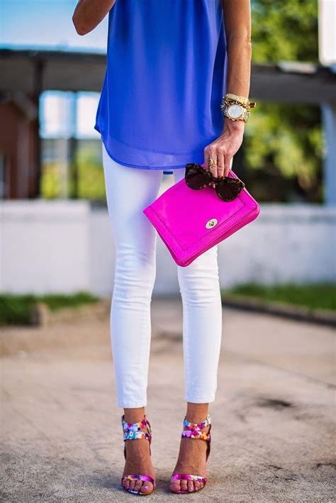 Cobalt blouse neon pink bag white pant Teen fashion Cute Dress! Clothes Casual Outift for ...