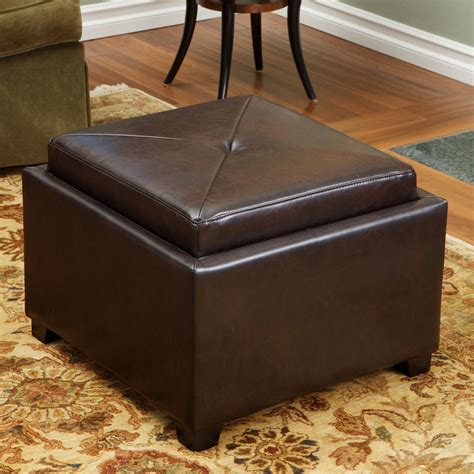 Best Ottomans by Best Selling Home Decor Andrea Leather Tray Top Storage