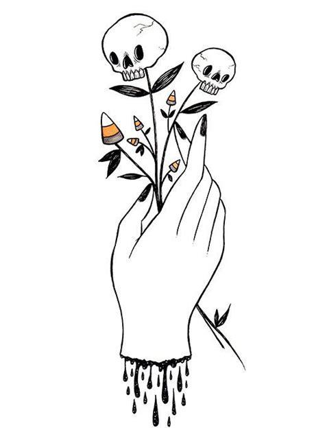 hand  skullflowers  print deadspiderhands