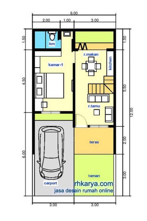 gambar denah rumah minimalis 2 lantai ukuran 6 215 12 cat