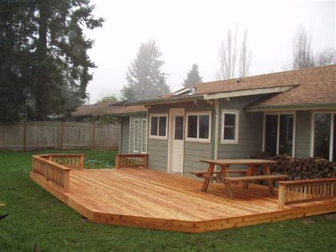 backyard wood deck simple backyard deck this might work for our yard landscaping pinterest west coast fire