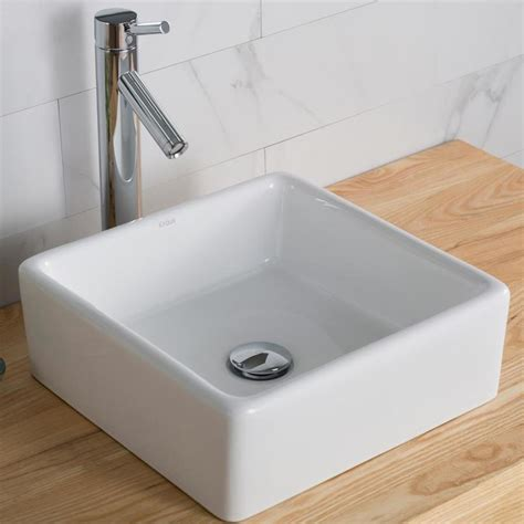 Square Sink by Kraus Elavo White Vessel Square Bathroom Sink At Lowes