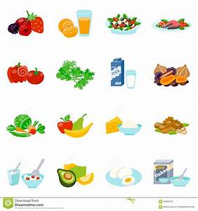 Healthy Food Flat Icons Set Stock Vector - Image: 56855979