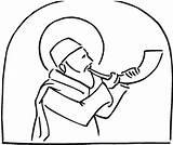 Rosh Hashanah Coloring Trumpets Feast Colornimbus Trumpet Sheets sketch template
